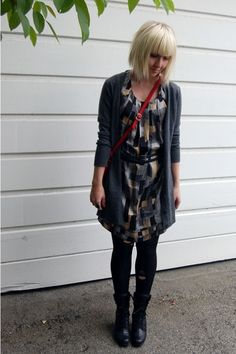 Classic Doc Martens with a dress and long cardigan.