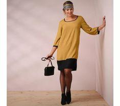 Dvoubarevné šaty se 3/4 rukávy | blancheporte.cz #blancheporte #blancheporteCZ #blancheporte_cz #moda #fashion #exkluzivni #exclusive Normcore, Style, Fashion, Women's Short Dresses, Woman Clothing, Plus Size, Fashion Ideas, Going Out, Curvy Fit
