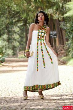 Ethiopian dress habesha dresses traditional clothing beige Kemisd #Handmade