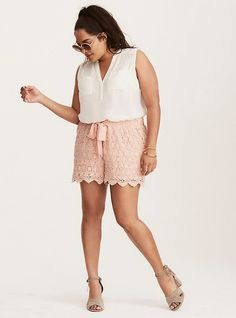 Shop plus size clothing in the latest styles at Torrid! Find women's plus size clothing, dresses, lingerie, tops, jeans & more in sizes Crochet Shorts Outfit, Denim Shorts Outfit, Summer Shorts Outfits, Short Outfits, Short Dresses, Fall Dresses, Summer Clothes, Wedding Dresses, Plus Size Shorts