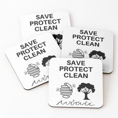 'Save Protect Clean' Coasters by RIVEofficial Pin Pin, Mobile Cases, My Portfolio, Home Decor Items, Coaster Set, Gift Bags, Climate Change, Slogan, Custom Design