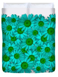 Daisy Square Blue Green Duvet Cover by Rowena Throckmorton. Floral and nature inspired printed duvet covers. Available in Twin, Queen, and King sizes.