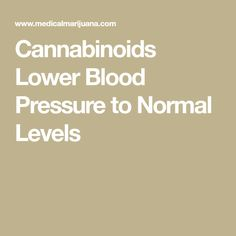 Cannabinoids Lower Blood Pressure to Normal Levels
