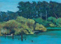 """""""Antonelli Pond #9,"""" oil pastel, by artist Susan W. Trimingham"""