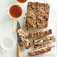 This slice is packed full of tasty dried fruit, nuts, grains and spices. Quick and easy to create it's perfect for breakfast and great as a lunchbox snack! Oat Slice Healthy, Paleo Fruit, Healthy Bars, Oats Recipes, Sweet Recipes, Baking Recipes, Snack Recipes, Healthy Recipes, Muesli Slice