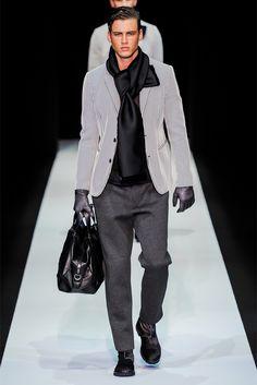Emporio Armani Milano Moda Uomo Autunno Inverno 2013-14 - Vogue #Grey Tones #handbag #silk scarf