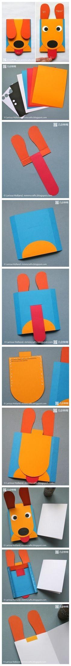 【DIY折纸】创意狗狗贺卡,一拉舌头耳朵会弹起露出眼睛