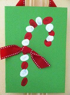 Christmas Crafts - Fingerprint Candy Cane Cards - DilliLock JewelleryFingerprint Jewellery| Designer Jewellery| Dillilock Jewellery