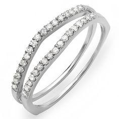 0.25 Carat (ctw) 14K White Gold Round White Diamond Anniversary Enhancer Guard Matching Wedding Chevron Ring Band 1/4 CT (Size 6)