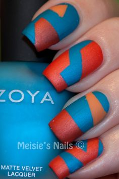 Bold color - matte  Although I am not a fan of orange and blue (FL gators thumbs down!), I like this nailpolish look...