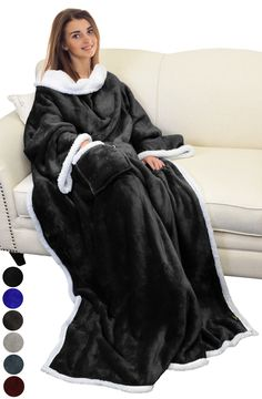 Catalonia Sherpa Wearable Blanket with Sleeves Arms,Super Soft Warm Comfy Large Fleece Plush Sleeved TV Throws Wrap Robe Blanket for Adult Women and Men Black Warm Hug, Warm And Cozy, Nylons, Sun Protection Hat, Get Well Soon Gifts, Wearable Blanket, Wearable Device, Stay Warm, Jackets