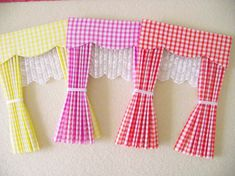 Items similar to Barbie doll house gingham curtains drapes with scalloped pelmet. - Items similar to Barbie doll house gingham curtains drapes with scalloped pelmet nets and tie backs - Fabric Doll Pattern, Fabric Dolls, Scrap Fabric, Fox Fabric, Doll Patterns, Paper Dolls, Cardboard Dollhouse, Diy Dollhouse, Victorian Dollhouse