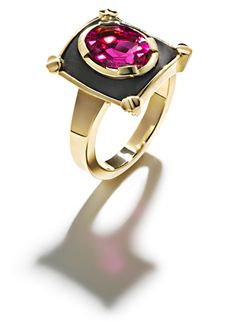Gold,  Rubelit and Ebony Ring by Fochtmann