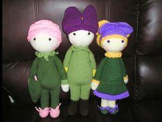 Flower dolls Rose Roxy, Tulip Theo and Violet Vicky made by Dawn D - crochet patterns by Zabbez