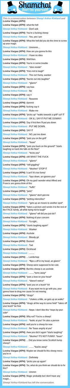 A conversation between Lovina Vargas ( @buonotomatorp03 ) and Sheep! Arthur Kirkland