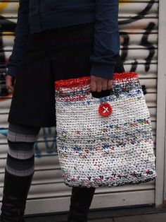 Plastic bags crocheted together!