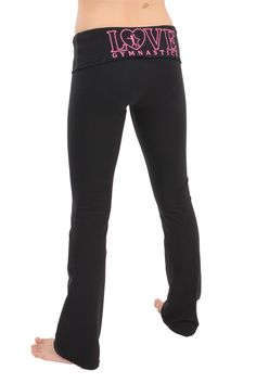 Flip N Fit girls fold over yoga pants with a love gymnastics design embroidered on the back. Great before, during and after any gymnastics workout! Available in several colors to match any gymnast style. Love Gymnastics Foldover Yoga Pant $35.99 | FlipNFit.com