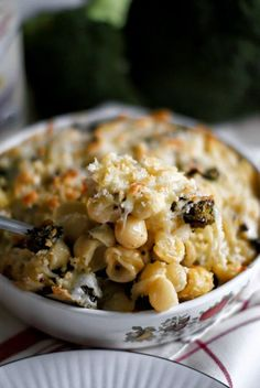 The Two Bite Club: Easy White Cheddar Mac and Cheese with Caramelized Broccoli and Mushrooms