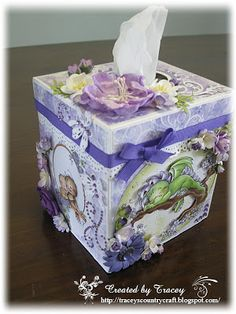 Tissue Box Cover - using Wee Stamps and a LOTV stamp  Tracey's Country Crafts
