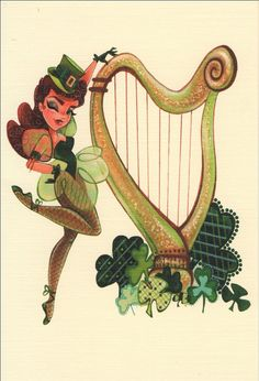 St Pattys Day Party Invitation Pin-Up with Harp Note by MissHollyLu, $4.00