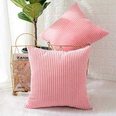 "2Pcs Calitime Pillow Covers Cases Home Decor Orange Corduroy Stripes Sofa 18x18/"""
