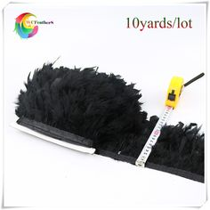 10yards good quality black chandelle turkey feather trimming for costumes