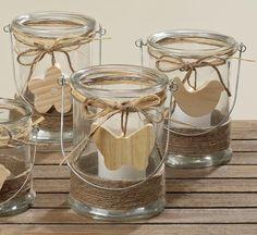Windlicht Kerzenhalter Teelichthalter *Svea* Glas Holz - H17cm
