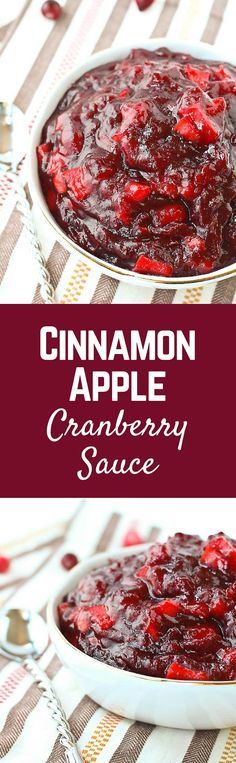 Don't settle for cranberry sauce from a can - this flavorful cinnamon apple cranberry sauce is super simple to make and can even be made a day or two in advance! Get the easy Thanksgiving recipe on RachelCooks.com!