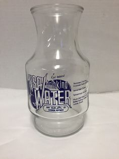 Vintage NSA Water Pitcher Jug Carafe Bottle Vintage 48 Ounce  #AnchorHockingNSA