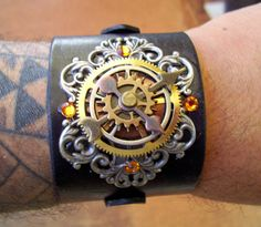 Steampunk Leather Bracelet (C41) - Time Travel Design - Wristband/Cuff - Silver and Brass - Black Leather - Gears - Adjustable Straps