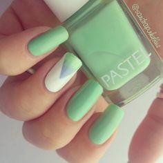 Mint Pastel Gradient Triangle #nail #nails #nailart