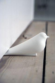 Cute Gift: Sweet White Dove Door Stop | Rockett St George, looks so lovely on the wood floor
