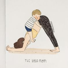 Yoga Illustration, Family Illustration, Baby Yoga, Yoga Mom, Cute Drawings Of People, Baby Record Book, Lord Ganesha Paintings, Mother Art, Baby Drawing