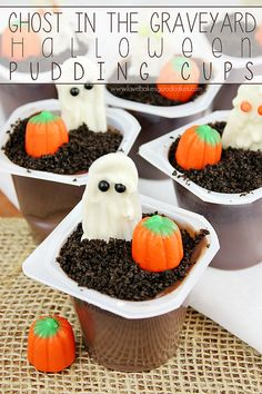 Ghost in the Graveyard Halloween Pudding Cups are an easy to make dessert perfect for the kiddos (or adults!) in your life! #SnackPackMixins #shop