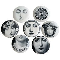 Piero Fornasetti Seven Old Porcelain Eve Plates