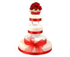 Svatební dort 42 Čtyřpatrový svatební dort, o rozměrech 18 cm, 24 cm, 32 cm a 52 cm, obalen fondánem, dozdoben saténovými stuhami a živými květy Perfume Bottles, Beauty, Perfume Bottle, Cosmetology