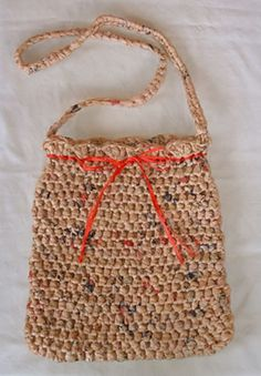 Ribbon Sling Bag Made Out Of  Recycled Plastic Bags