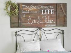 Decorating With Words country western rustic fall wedding old barn wood sign happily