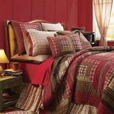 Red Plaid Cotton Ruffled Bedskirt Dust Ruffle