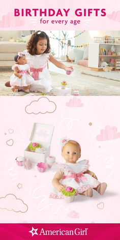It's a big day for Baby! Celebrate all the fun of turning one by bringing family and friends together for a party you'll both remember forever. Bitty Baby's Happy Birthday Outfit and stackable birthday cupcakes add an extra layer of sweetness to the party. Shop Bitty Baby! #birthdaygifts #birthdayguide #giftguide #bittbaby #americangirl Birthday Cupcakes, Birthday Gifts, Happy Birthday, American Girl Outlet, T Baby, Bitty Baby, Party Shop, Satin Bows, Turning