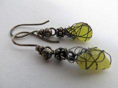 Little Raw Lava and Silver earrings- Rough Lava earrings-Bohemian hippie chic earrings -unique handmade-Yellow Lava oxidized silver jewelry