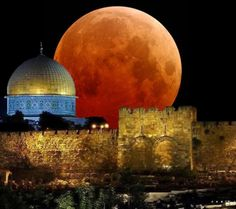 What a beauty! Al-Aqsa Mosque,The dome of the rock - Jerusalem, Palestine Blood Red Moon, Third Temple, Dome Of The Rock, Temple Mount, Jerusalem Israel, Moon Rise, Holy Land, Moonlight, Holi