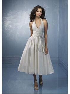 Short Halter top Tea length wedding dress