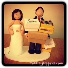 A personalised wedding cake topper shopping bride and groom with some Christian louboutin shoes! #caketopper #totallytoppers