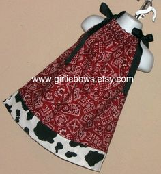 Cowgirl Bandana Red or Blue Pillowcase Dress perfect by girliebows, $20.00