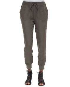 Joie Stuva Drawstring Linen Pants, Smoky Quartz In Fatigue Joie Clothing, Linen Drawstring Pants, Linen Trousers, Jogger Pants, Pants For Women, Clothes, Smoky Quartz, Neiman Marcus, Clearance Sale