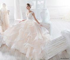 nicole spose 2018 bridal cap sleeves v neck heavily embellished bodice layered skirt romantic blush a line wedding dress sheer button back chapel train (7) mv
