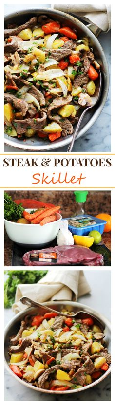 Five Approaches To Economize Transforming Your Kitchen Area Steak And Potatoes Skillet This Easy Skillet Recipe Involves Tender Strips Of Sirloin Steak And Cubed Potatoes Tossed With Colorful Veggies And Citrus Soy Sauce. Potato Recipes, Meat Recipes, Real Food Recipes, Dinner Recipes, Cooking Recipes, Healthy Recipes, Dinner Ideas, Bariatric Recipes, Supper Ideas