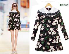 83fce6a4067 2014 HOT SALE Fashion Flower Print Ladies Green Empire Bud Vestidos Full  Sleeve Lace Collar Decoration