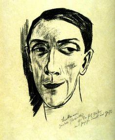 Max Beckmann  1884-1950 Portrait of Zeretti  # II (1923) Lithograph